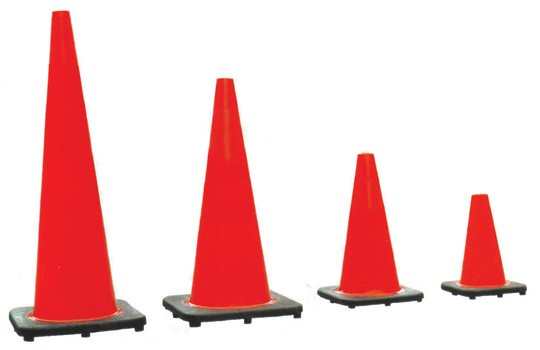 Red PVC traffic cone, 450mm