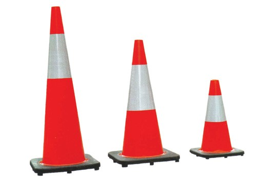 Red PVC traffic cone with silver tape, 710mm