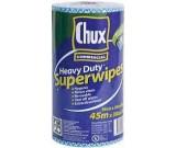 CHUX H/Duty Superwipes Cloth Blue Perforated Rolls 45m x 30cm Ctn 6