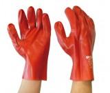 Red PVC Gauntlet,Interlock Liner Glove, 27cm - 12PK