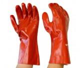 Red PVC Gauntlet, Interlock Liner Glove, 35cm - 12PK