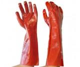 Red PVC Gauntlet, Interlock Liner Glove, 45cm - 12PK