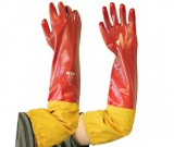 Red PVC Full Arm Gauntlet, Intlck Lnr, 60cm Glove - 12PK